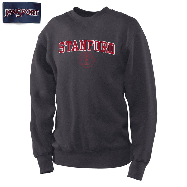 Stanford Cardinal Jansport Crew Neck Sweatshirt-Charcoal-Shop College Wear