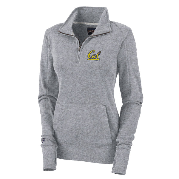 "UC Berkeley Cal 1/4"" Zip Women's Sweatshirt-Gray-Shop College Wear"