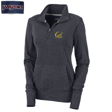 "UC Berkeley Cal Jansport 1/4"" Zip Women's Sweatshirt-Charcoal"