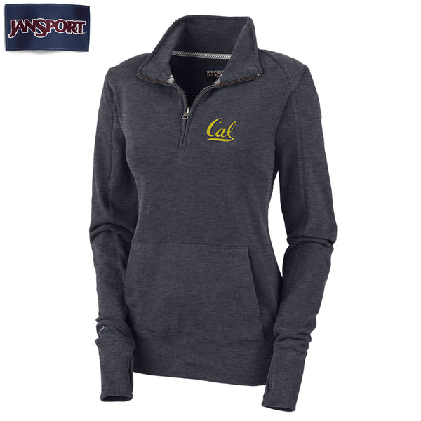 "UC Berkeley Cal Jansport 1/4"" Zip Women's Sweatshirt-Charcoal-Shop College Wear"