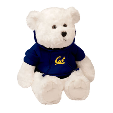 "U.C. Berkeley Cal 10"" Plush teddy Bear with hoodie-White"