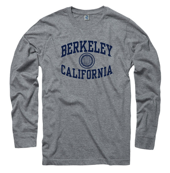 UC Berkeley Cal Golden Bears Men's Long Sleeve Ring Spun T- Shirt -Gray-Shop College Wear