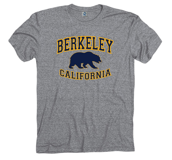 UC Berkeley Cal Men's Tri Blend T- Shirt- Gray-Shop College Wear