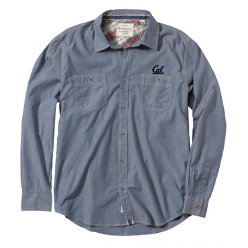 UC Berkeley Cal embroidered Men's Button Down Shirt-Chambray