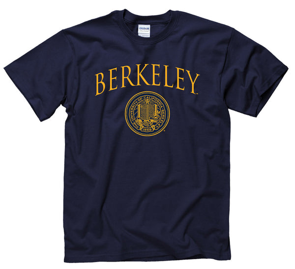U.C. Berkeley Arch & Seal Pin Font T-Shirt - Navy-Shop College Wear