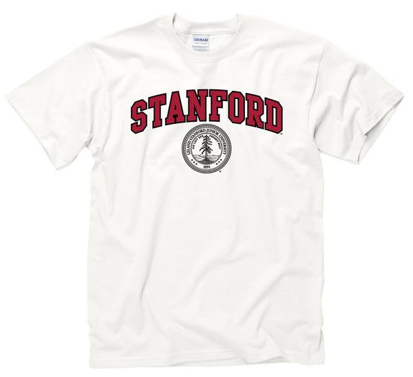 Stanford University Arch & Seal Men's T-Shirt-White-Shop College Wear