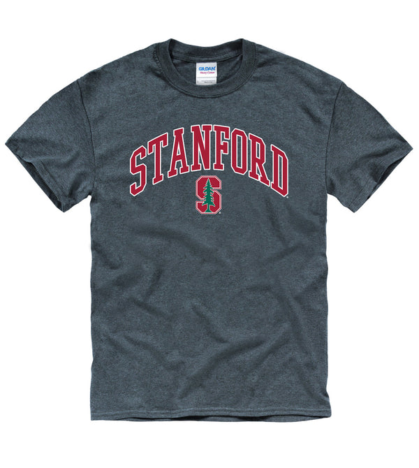 Stanford University Tall Font Men's T-Shirt-Charcoal-Shop College Wear