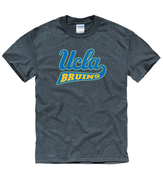 UCLA Cursive Men's T-Shirt-Charcoal-Shop College Wear