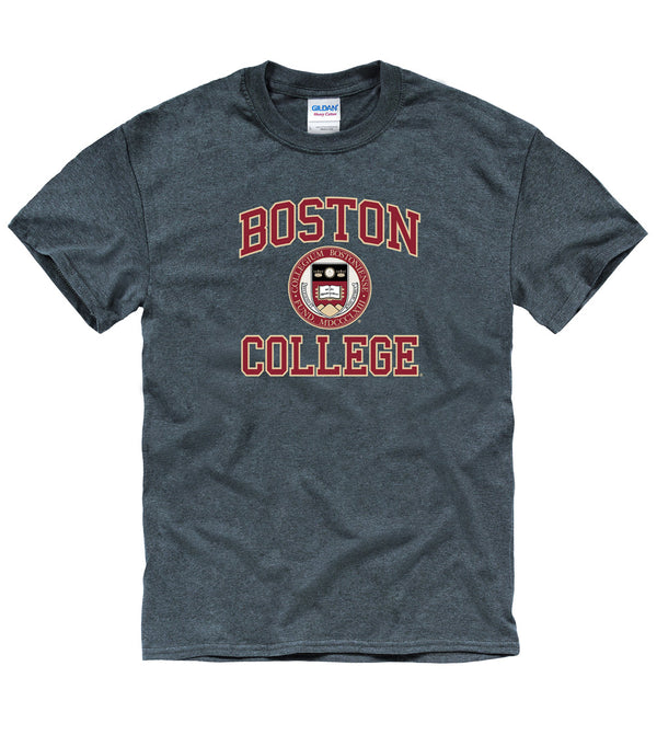 Boston College Arch & Seal T- Shirt- Charcoal-Shop College Wear