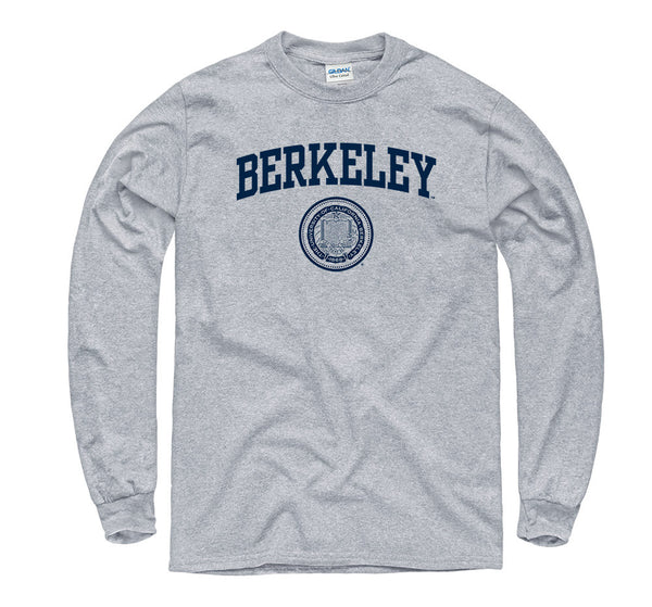UC Berkeley Arch & Seal Long Sleeve T- Shirt- Gray-Shop College Wear