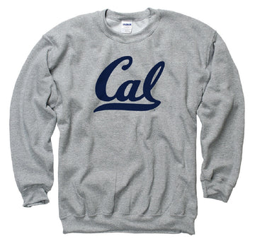 California Golden Bears Script Cal Crew Neck Mens Sweatshirt- Grey
