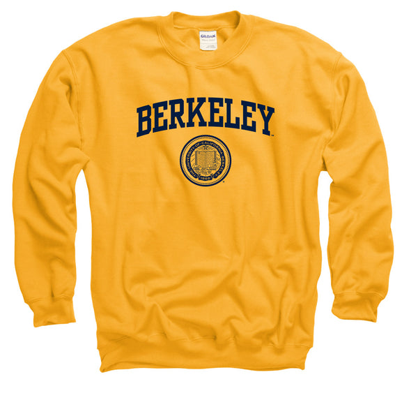 UC Berkeley Men's Arch & Seal Crew Neck Sweatshirt-Gold-Shop College Wear