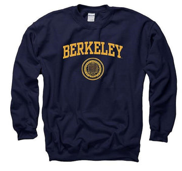 University Of California Berkeley Arch & Seal Mens Crew Neck Sweatshirt - Navy