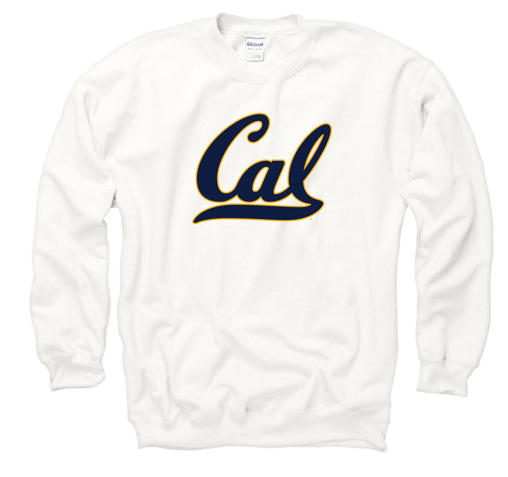 UC Berkeley Bold Script Cal Crew-Neck Sweatshirt-White-Shop College Wear