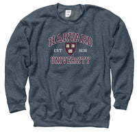 Harvard University Men's Crew-Neck Sweatshirt-Charcoal-Shop College Wear
