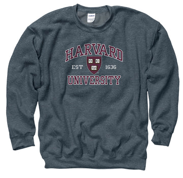 Harvard University Men's Crew-Neck Sweatshirt-Charcoal