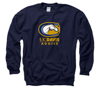 UC Davis Aggies Primary Mark Men's Crew Neck Sweatshirt - Navy-Shop College Wear