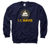 UC Davis Aggies School Seal Men's Crew-Neck Sweatshirt - Navy-Shop College Wear