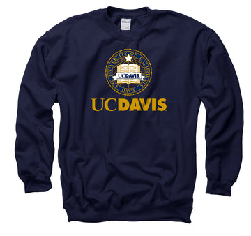 UC Davis Aggies School Seal Men's Crew-Neck Sweatshirt - Navy