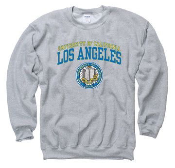 UCLA Double Arch Men's Crew- Neck Sweatshirt-Gray