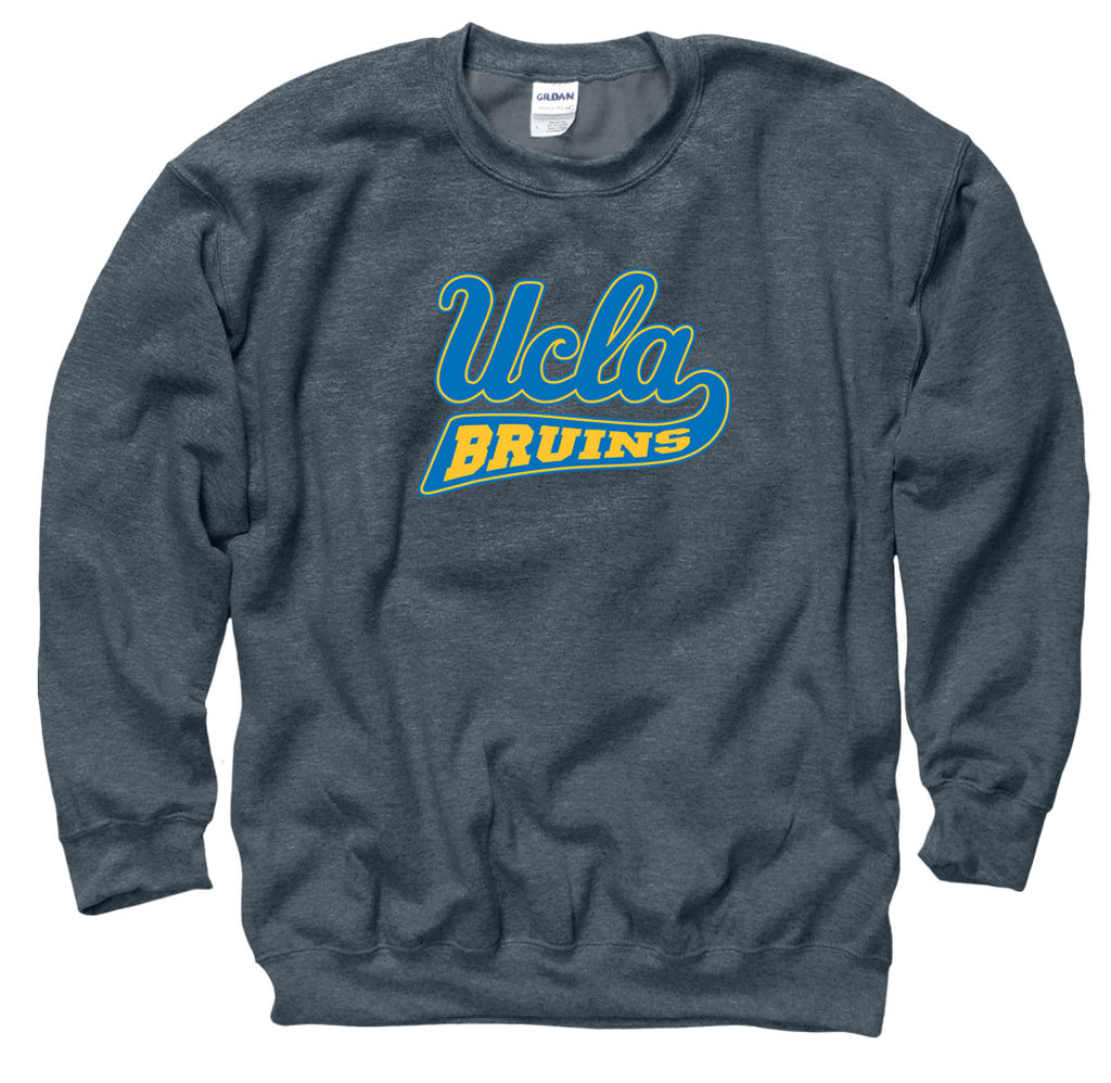 UCLA Cursive Men's Crew-Neck sweatshirt-Charcoal-Shop College Wear
