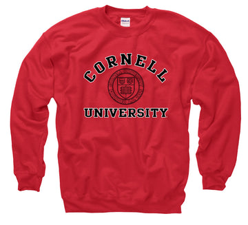 Cornell University Arch & Seal Men's Sweatshirt-Red