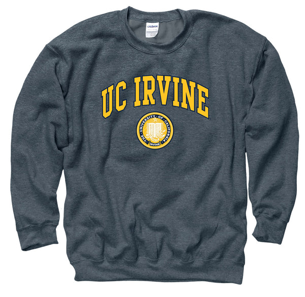 UC Irvine Men's Crew-Neck Sweatshirt-Charcoal-Shop College Wear