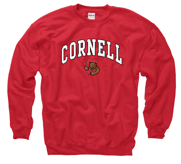 Cornell University Men's Crew Neck Sweatshirt- Red-Shop College Wear