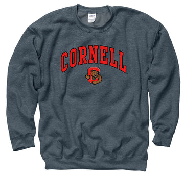 Cornell University Men's Crew Neck Sweatshirt- Charcoal