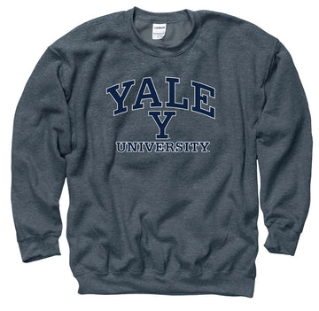 Yale University Men's Crew Neck Sweatshirt-Charcoal