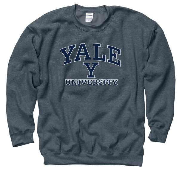 Yale University Men's Crew Neck Sweatshirt-Charcoal-Shop College Wear