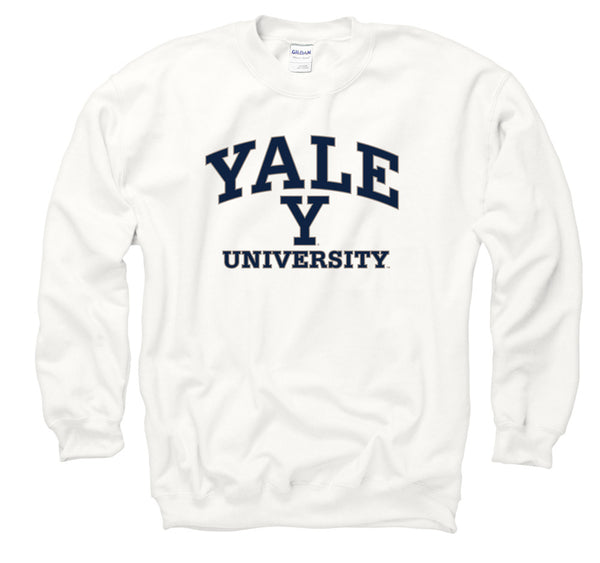 Yale Bulldogs Men's Crew Neck Sweatshirt-White-Shop College Wear