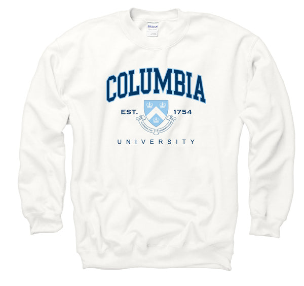 Columbia University Men's Crew Neck Sweatshirt-White-Shop College Wear