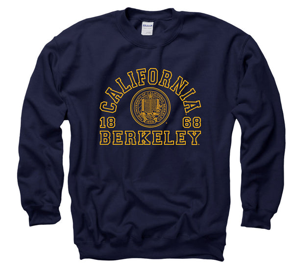 University Of California Berkeley Outline Font Crew-Neck Sweatshirt-Navy-Shop College Wear