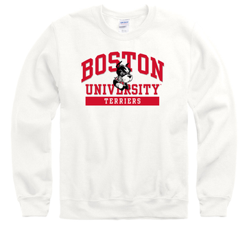 Boston University Terriers Men's Crew-Neck Sweatshirt-White