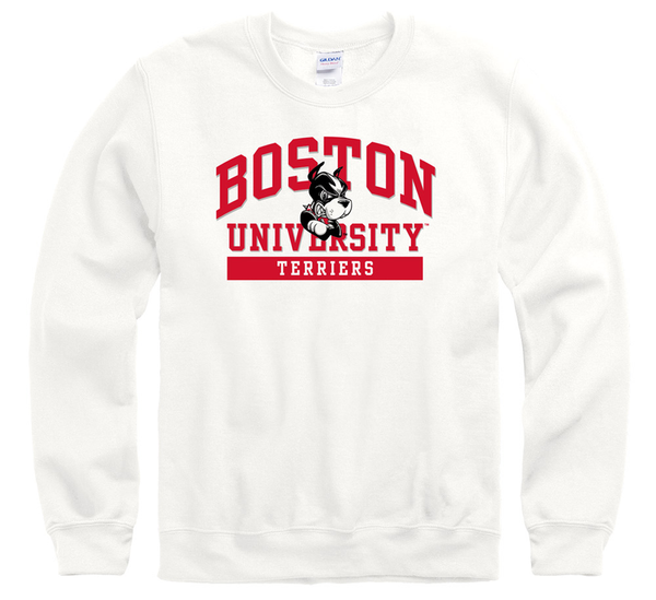 Boston University Terriers Men's Crew-Neck Sweatshirt-White-Shop College Wear