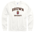 Brown University Men's Crew-Neck Sweatshirt-White