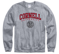 Cornell University Big Red double arch & seal crew-neck sweatshirt-Gray-Shop College Wear