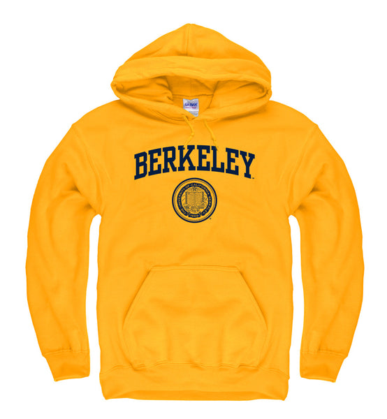 UC Berkeley Arch & Seal Men's Hoodie Sweatshirt-Gold-Shop College Wear