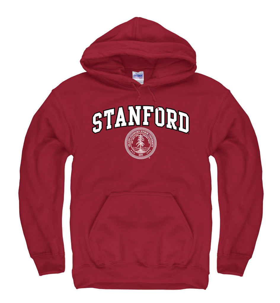 Stanford University Arch & Seal Men's Hoodie Sweatshirt-Cardinal-Shop College Wear