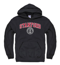 Stanford University Arch & Seal Men's Hoodie Sweatshirt-Black-Shop College Wear