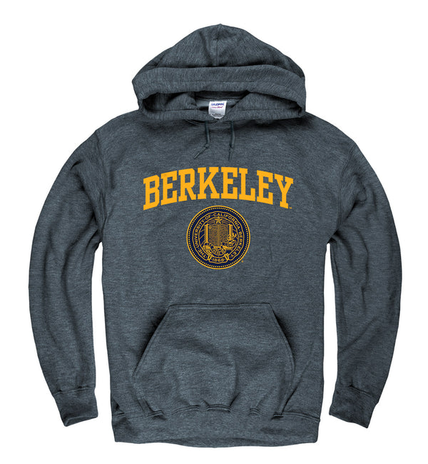 UC Berkeley Arch & Puff Seal Men's Hoodie Sweatshirt-Charcoal-Shop College Wear