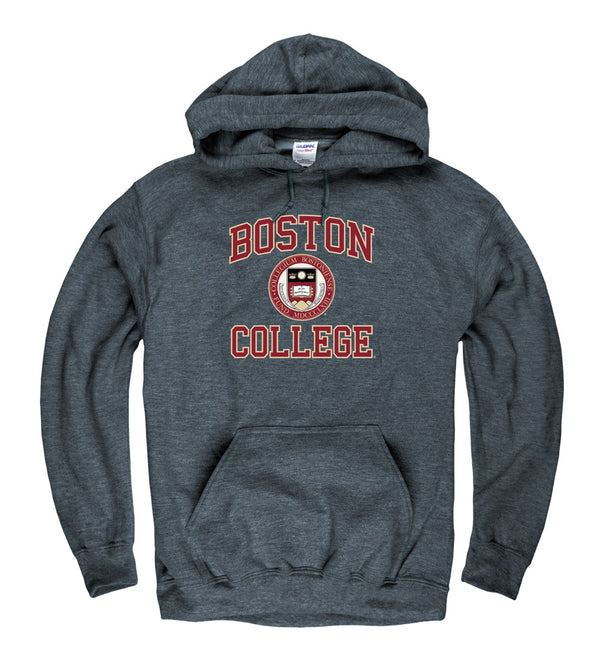 Boston College Arch & Seal Men's Hoodie Sweatshirt-Charcoal-Shop College Wear