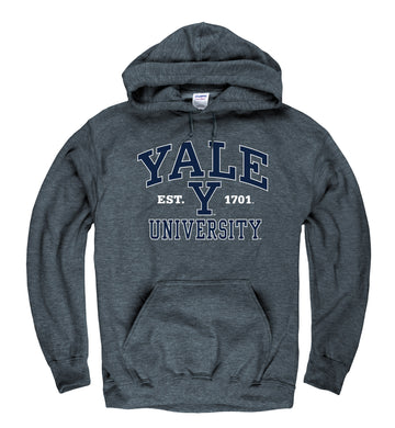 Yale University Men's Hoodie Sweatshirt-Charcoal