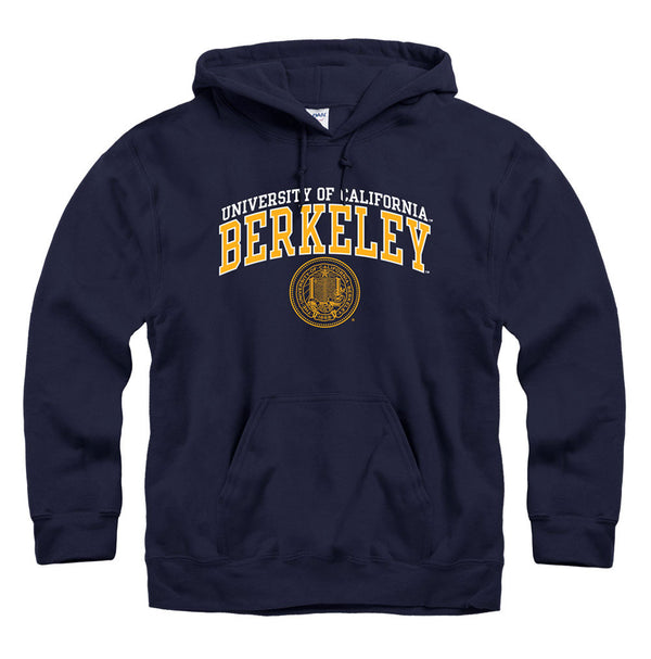 University Of California Berkeley Double Arch & Seal Thin Font Hoodie Sweatshirt-Navy-Shop College Wear