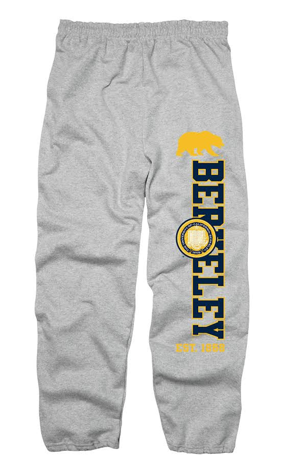 UC Berkeley 3 Color Seal Cavity Men's Cuffed sweatpants- Gray-Shop College Wear