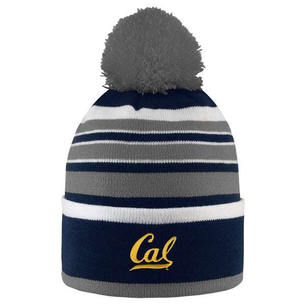 University Of California Berkeley Golden Bears Cuffed Pom Beanie Hat - NAVY-Shop College Wear