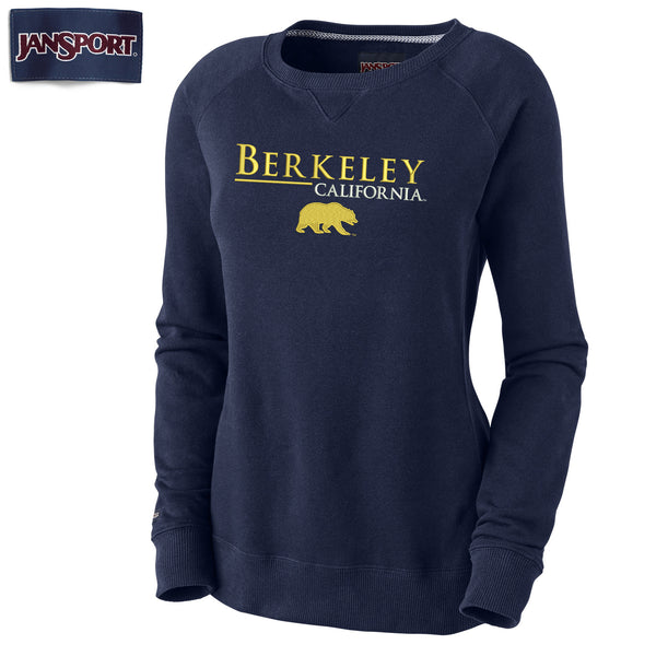 UC Berkeley Cal Women's Jansport Embroidered Crew Neck Sweatshirt-Navy-Shop College Wear