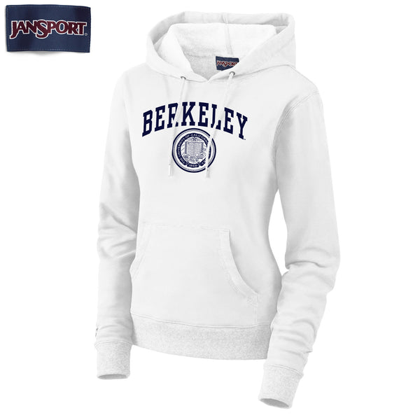 UC Berkeley Arch & Seal Jansport Women's Hoodie Sweatshirt- White-Shop College Wear