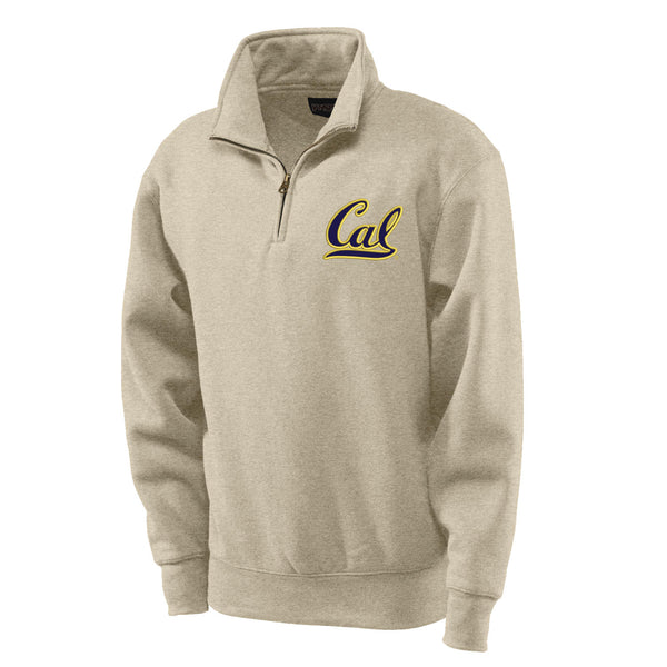 "UC Berkeley Cal applique 1/4"" Zip Men's Sweatshirt-Oatmeal-Shop College Wear"